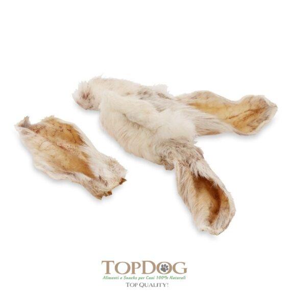 Orecchie di coniglio con pelo per cani