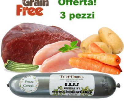 Salamotto di carne per cani al Manzo Grain Free 3pz